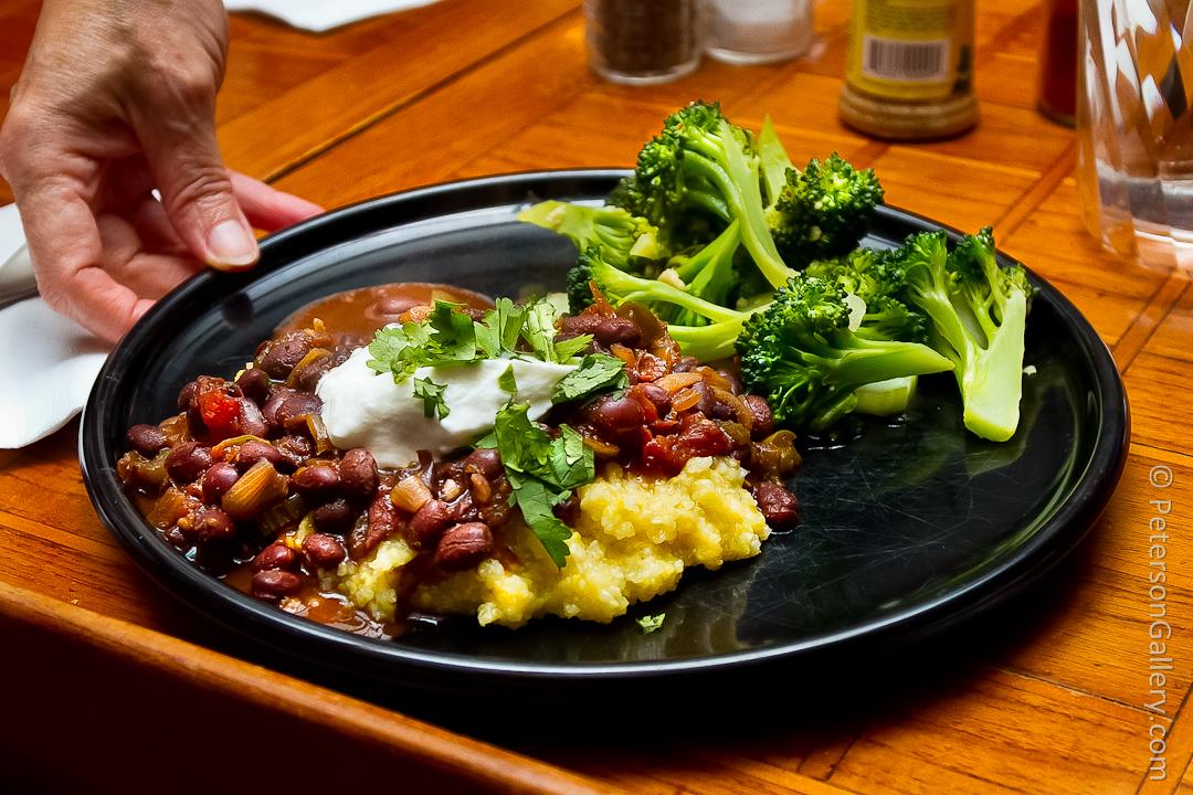 Black Bean Chili over Soft Polenta