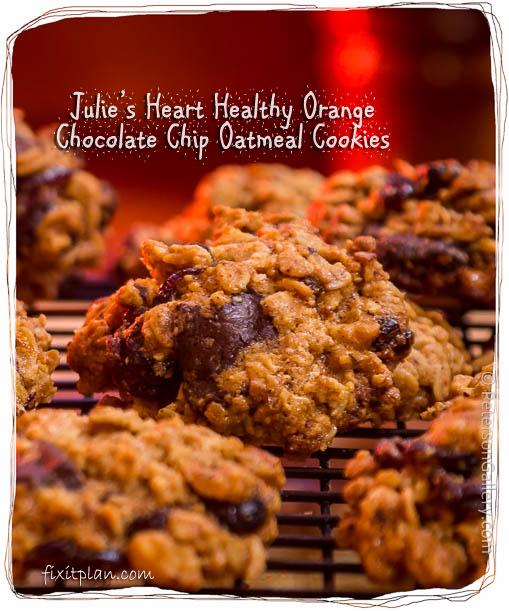 Heart Healthy Orange Chocolate Chip Oatmeal Cookies