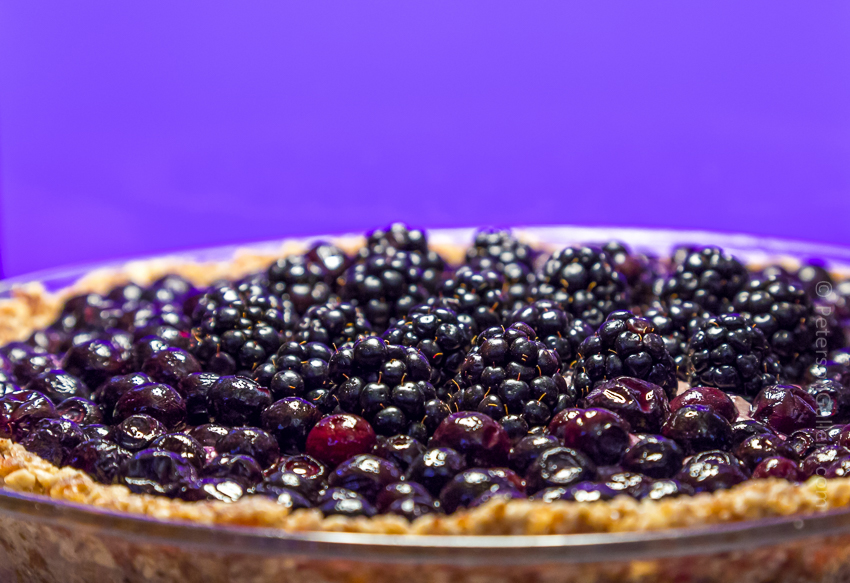 close up of the plant-based, heart-healthy berry pie with pecan-sunflower crust