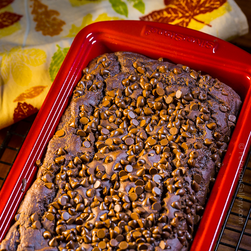 Chocolate Pumpkin Bread in Red Loaf Pan